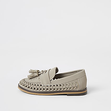 Mini boys grey woven tassel loafers