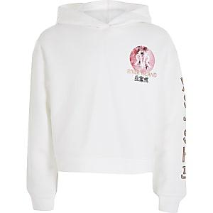 Witte hoodie met oriëntaalse bloemenprint