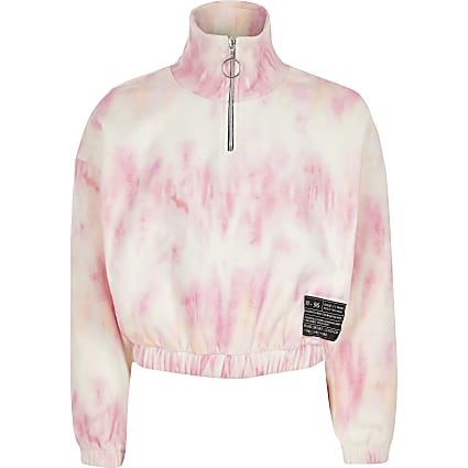 Girls pink tie dye half zip sweatshirt