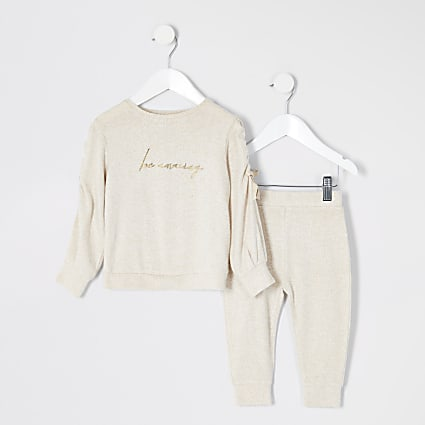 Mini girls beige 'Be amazing' cosy outfit
