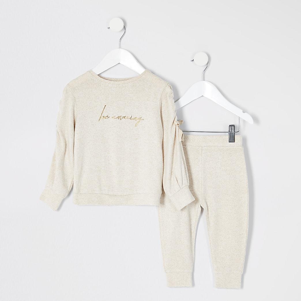 Mini - Outfit met beige cosy met 'Be amazing'-print