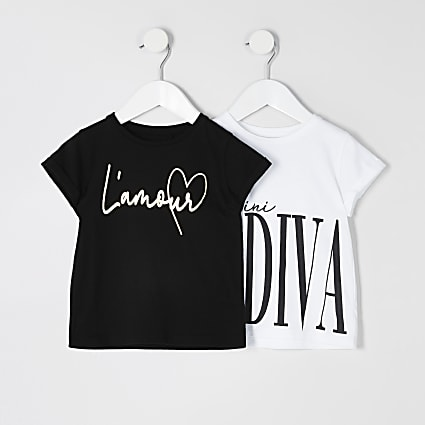Mini girls white printed T-shirt 2 pack