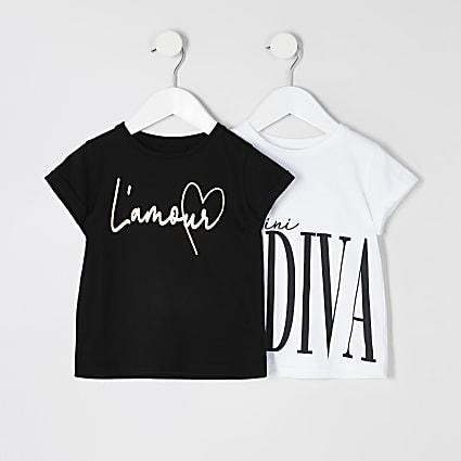Mini girls white printed T-shirt 2 pack