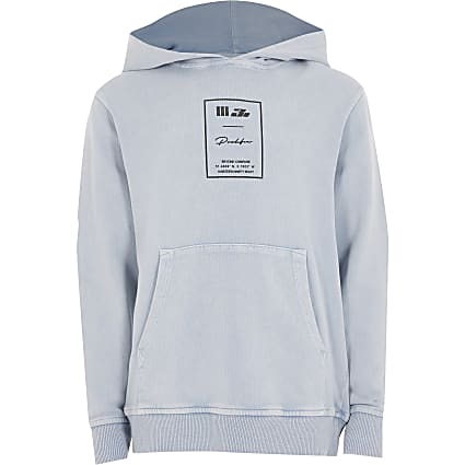 Boys blue acid wash Prolific hoodie