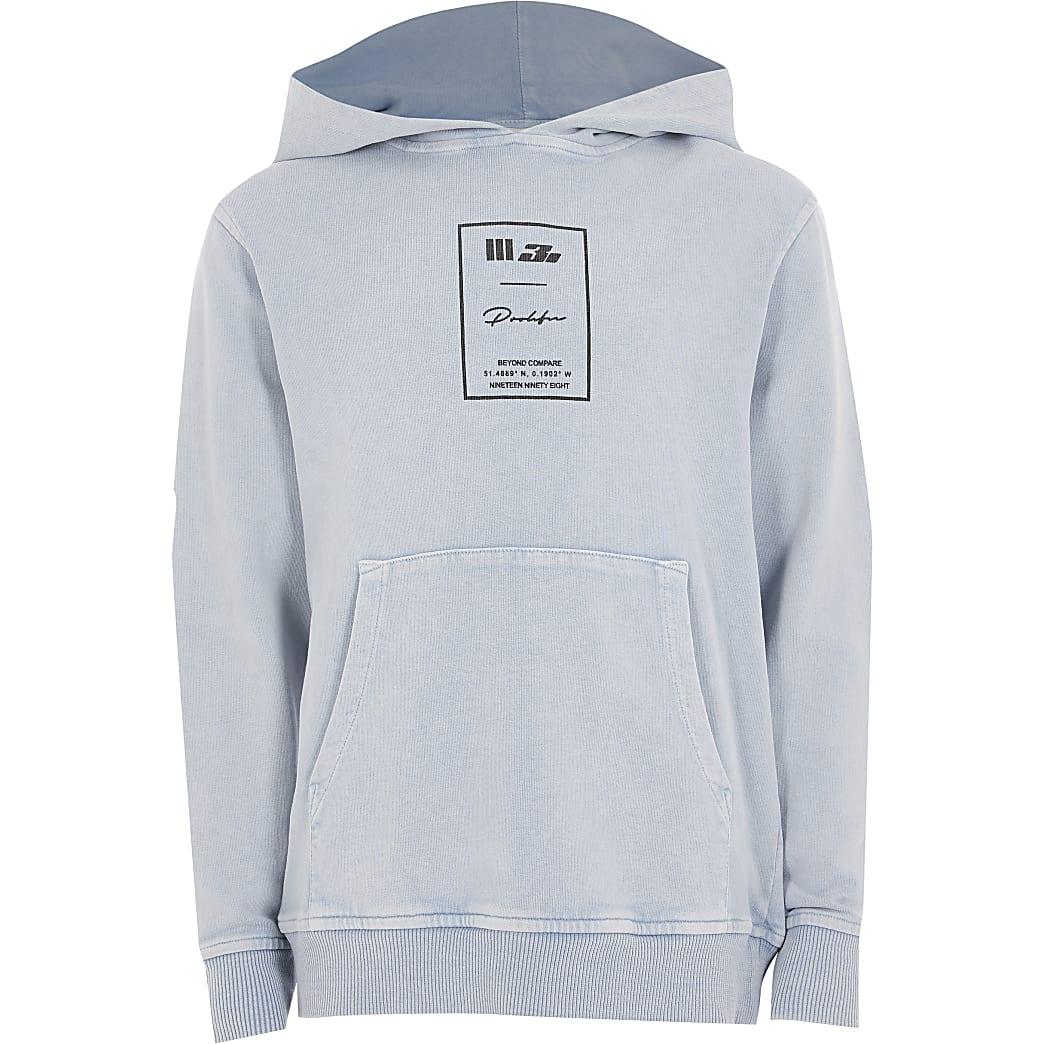 Boys blue acid wash Prolific hoodie