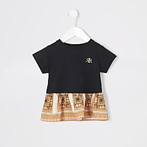 Mini – Schwarzes T-Shirt mit Barock-Schößchen für Mädchen