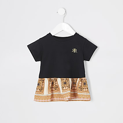 Mini girls black baroque peplum T-shirt