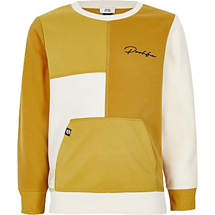Boys Prolific yellow blocked sweatshirt