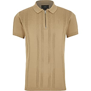 Boys beige half zip knitted polo shirt
