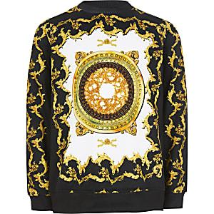 Zwarte sweater met barokprint voor jongens