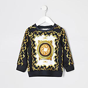 Mini - Zwarte sweater met barokprint voor jongens