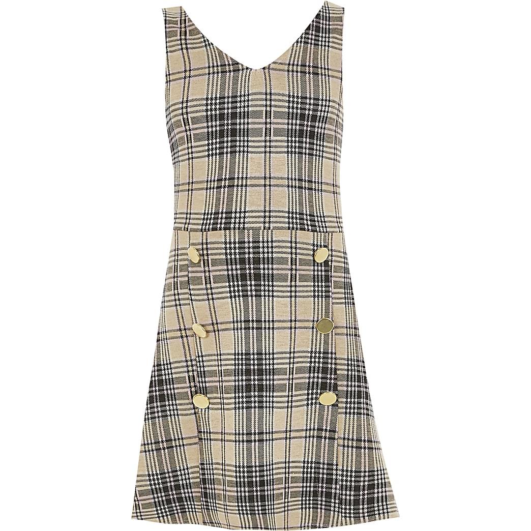 Girls beige check pinafore dress