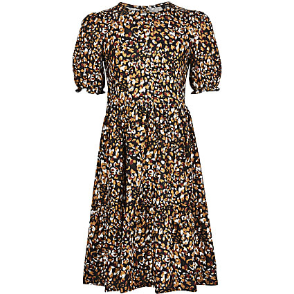 Girls beige leopard print smock dress