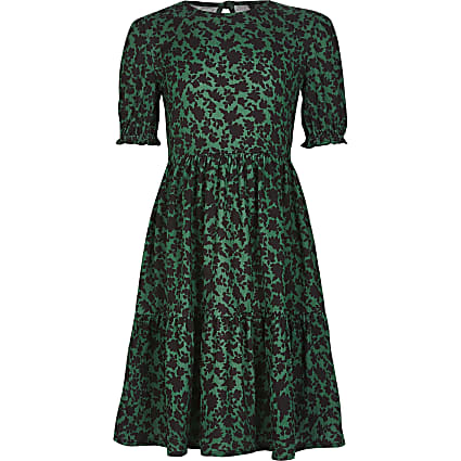Girls green printed smock dress