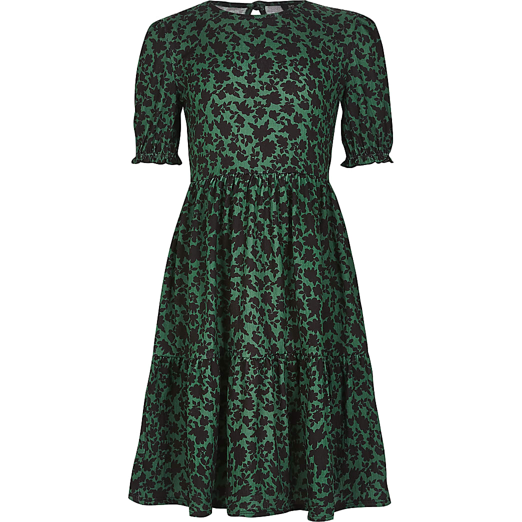 Girls green printed smock dress