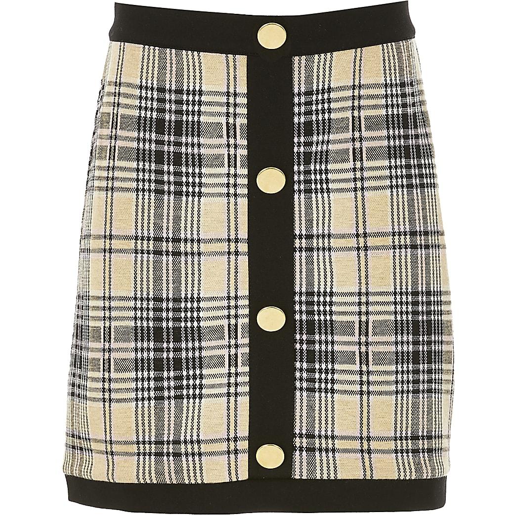 Girls beige check A line button skirt