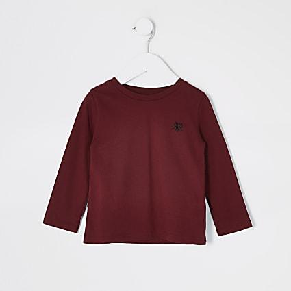 Mini boys burgundy RVR long sleeve T-shirt
