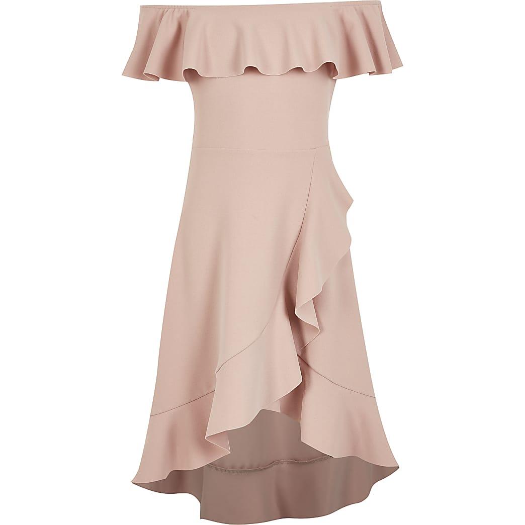 Girls pink frill bardot maxi dress