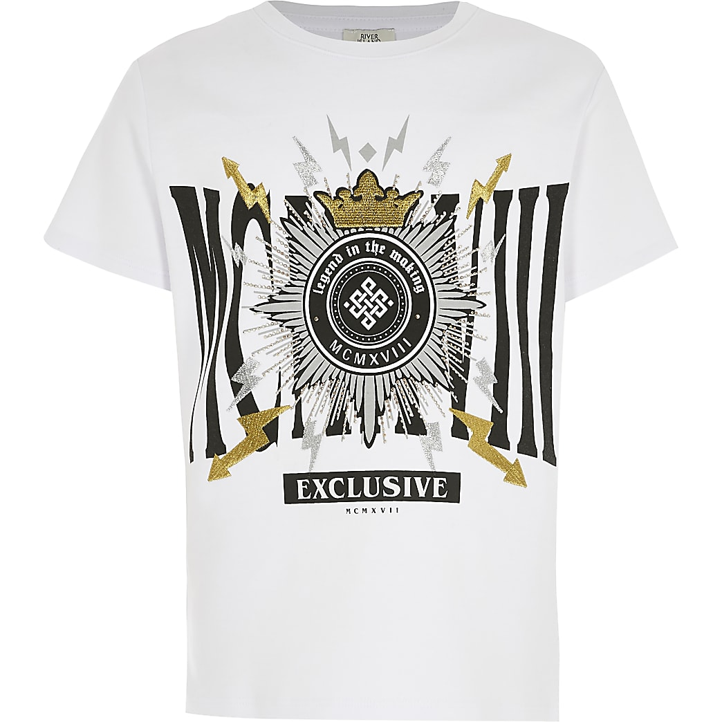 Boys white MXMLX embellished T-shirt