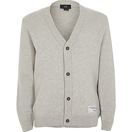 Boys grey button front knitted cardigan