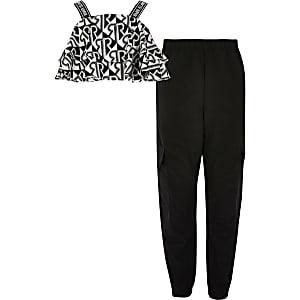 Schwarzes RI-Oberteil-Outfit mit Rüschen für Mädchen