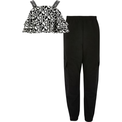 Girls black RI frill cropped top outfit
