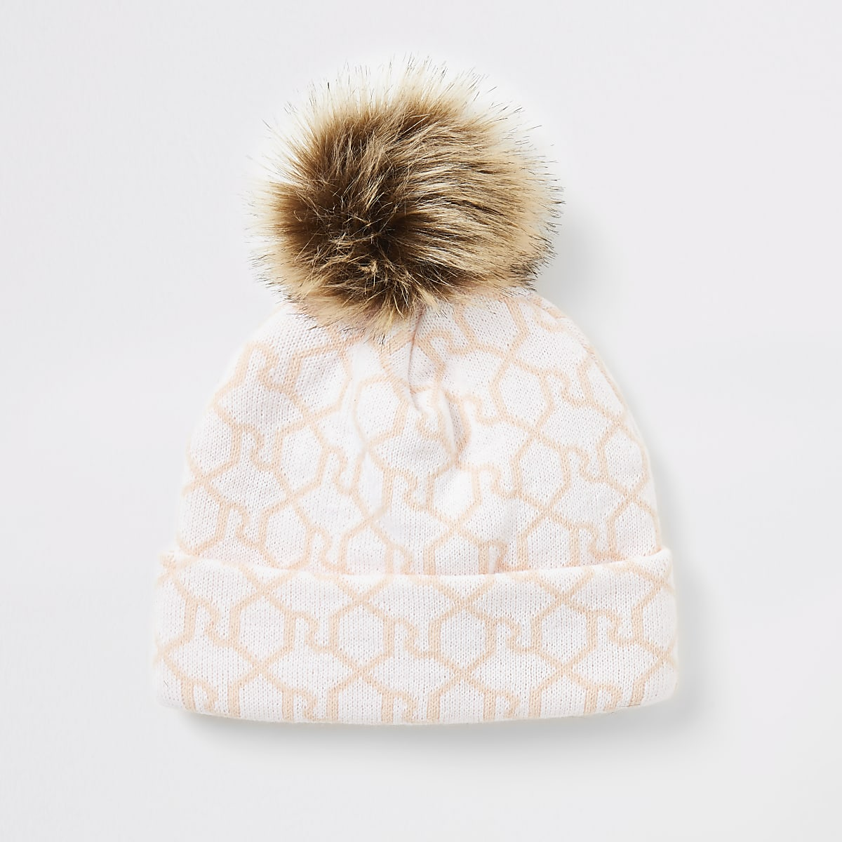 Girls pink RI monogram beanie hat