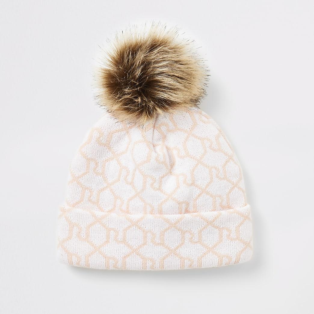 Girls pink RI monogram beanie hat