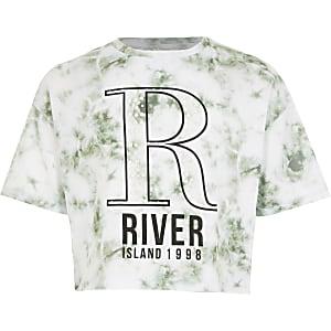 Weißes Batik-T-Shirt mit R-Verzierung für Mädchen