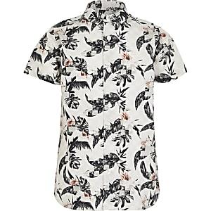 Grijs overhemd met print en korte mouwen voor jongens
