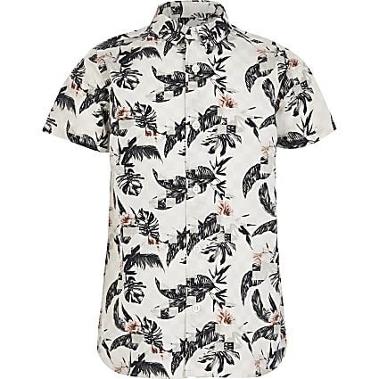 Boys grey printed short sleeve shirt