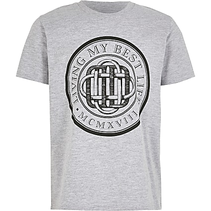 Boys grey 'Living my best life' T-shirt