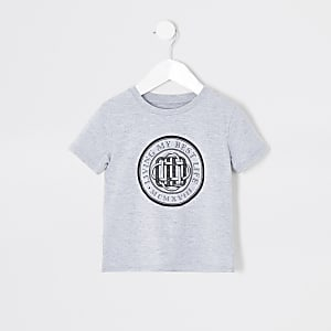 Mini - Grijs T-shirt met 'Living my best life'-print voor jongens