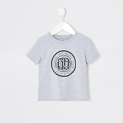 Mini boys grey 'Living my best life' T-shirt