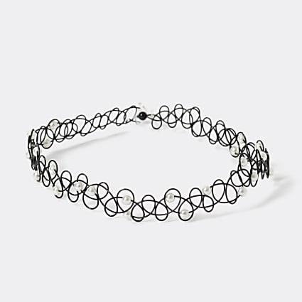 Girls black faux pearl tattoo choker necklace