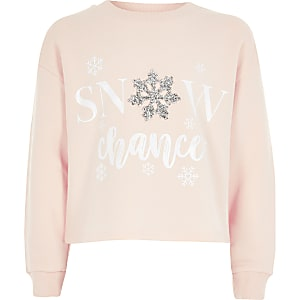 Sweat de Noël rose « snow chance » pour fille