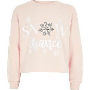 Roze Kerstsweater met 'snow chance'-tekst voor meisjes