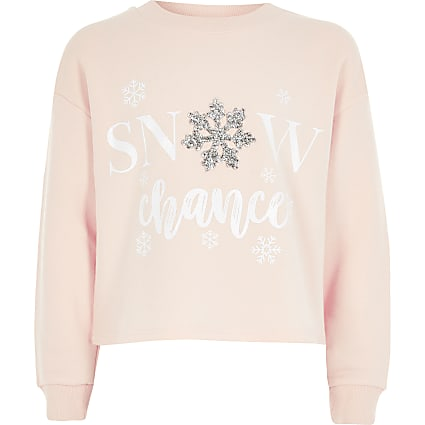 Girls pink 'snow chance' Christmas sweatshirt