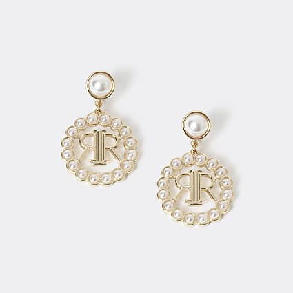 Girls gold colour RI pearl drop earrings