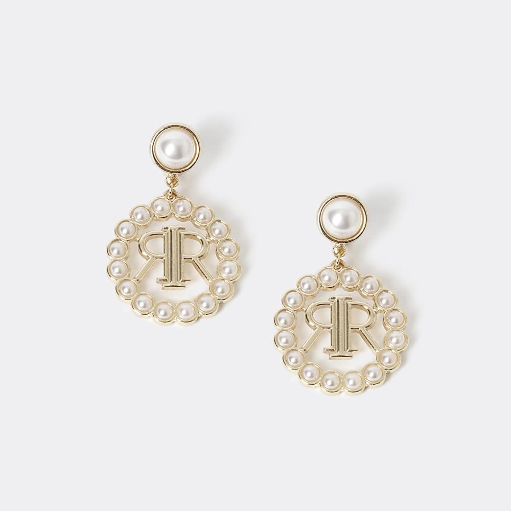 Girls gold tone RI faux pearl drop earrings
