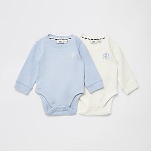 Lot de2 body gaufrésRIR bleus pour bébé
