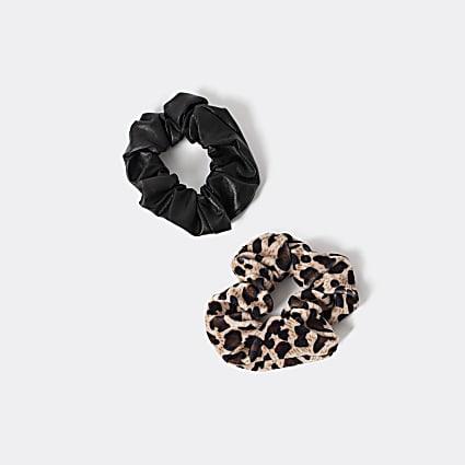 Girls black leopard print scrunchie 2 pack
