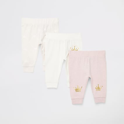 Baby pink printed leggings 3 pack