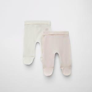Lot de2 leggings gaufrés RIR roses pour bébé