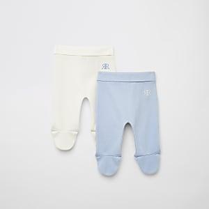 Lot de2 leggings gaufrésRIR bleus pour bébé