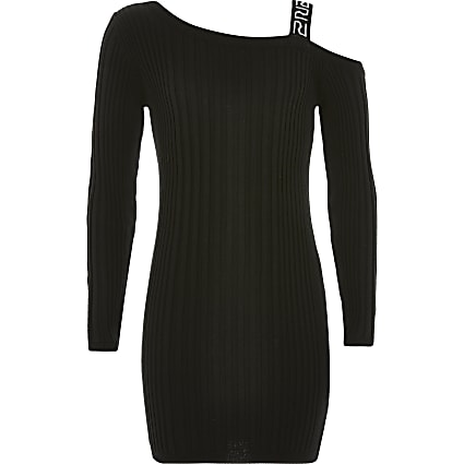 Girls black one shoulder ribbed dress