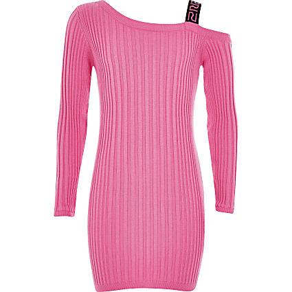 Girls bright pink one shoulder ribbed dress
