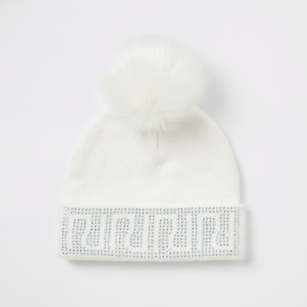 Girls white RI diamante beanie