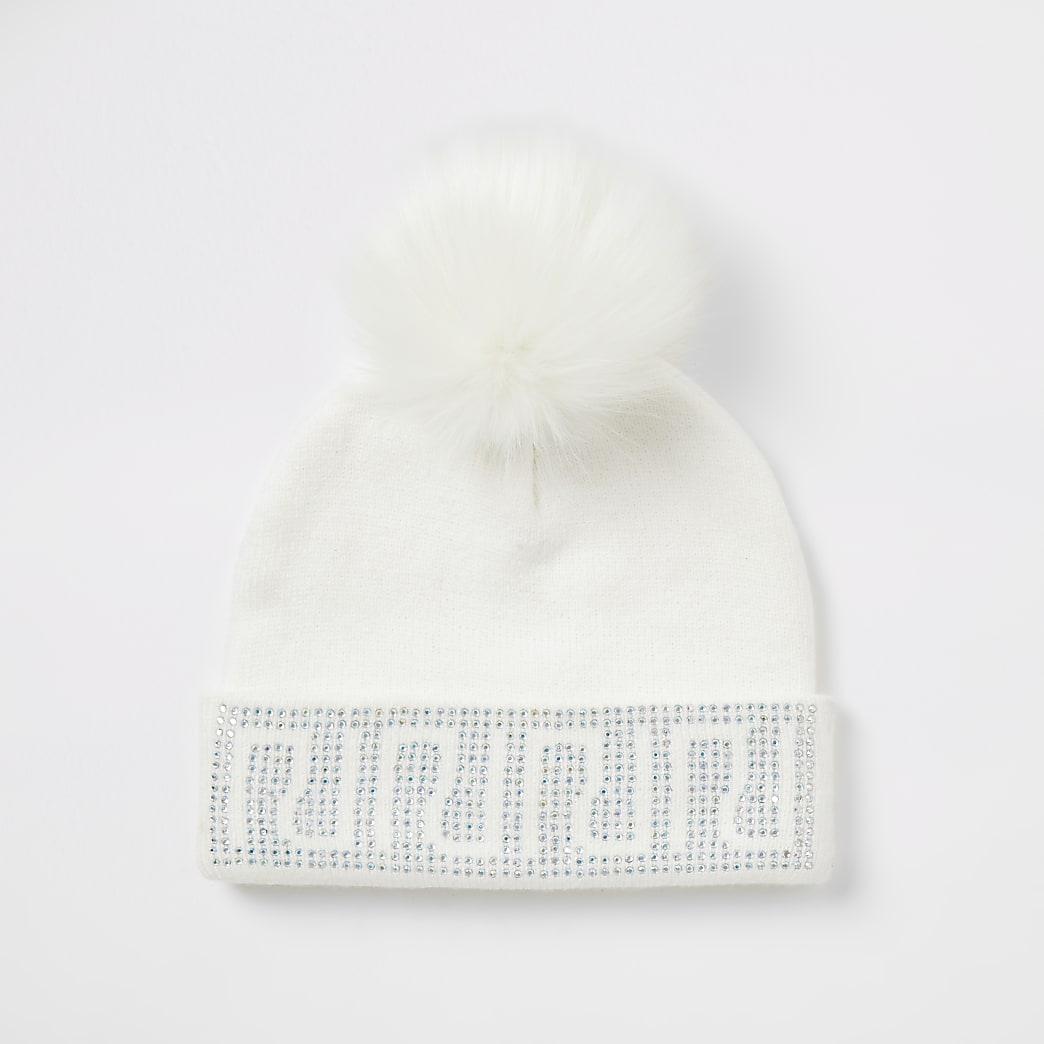 Girls white RI diamante beanie