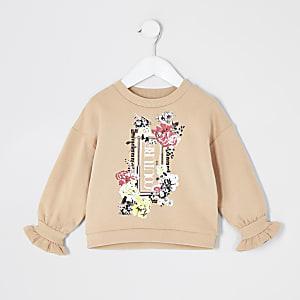 Mini – Beiges Sweatshirt mit Trompetenärmeln für Mädchen